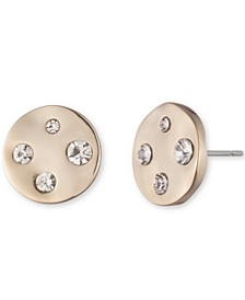 Gold-Tone Crystal Hammered Disc Button Earrings