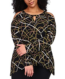 Plus Size Printed Cold-Shoulder Top