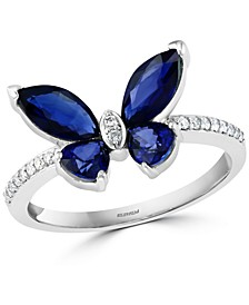EFFY® Sapphire (1-7/8 ct. t.w.) & Diamond (1/10 ct. t.w.) Butterfly Statement Ring in 14k White Gold
