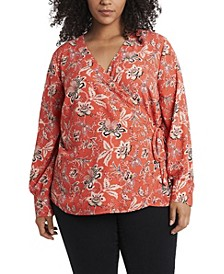 Women's Plus Size Antique-like Floral Printed Side Tie Wrap Top