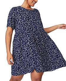 Women's Trendy Plus Size Good Times Babydoll Mini Dress