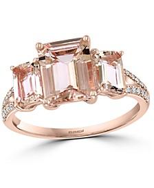 EFFY® Morganite (3-1/6 ct. t.w.) & Diamond (1/10 ct. t.w.) Three Stone Statement Ring in 14k Rose Gold