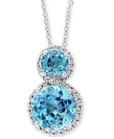 "EFFY® Blue Topaz (2-7/8 ct. t.w.) & Diamond (1/6 ct. t.w.) 18"" Pendant Necklace in 14k White Gold"
