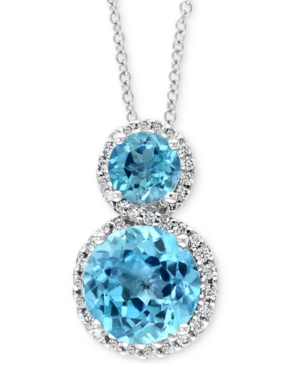 "Effy Blue Topaz (2-7/8 ct. t.w.) & Diamond (1/6 ct. t.w.) 18"" Pendant Necklace in 14k White Gold"