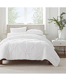 Simply Clean Microbe Resistant Pleated King Duvet Set,3 Piece