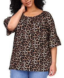 Plus Size Leopard-Print Gathered Peasant Top