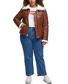 Trendy Plus Size Sherpa-Trimmed Faux-Leather Puffer Jacket