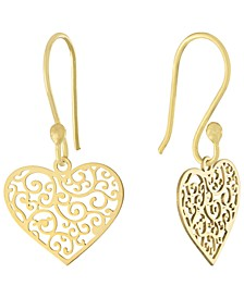 Filigree Heart Drop Earrings, Created for Macy's