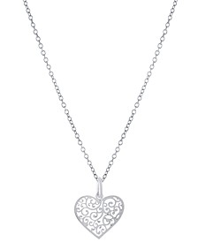 "Filigree Heart 18"" Pendant Necklace, Created for Macy's"