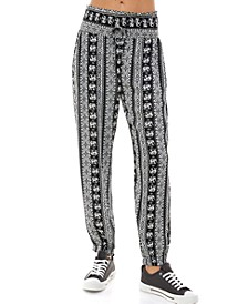 Juniors' Printed Smocked Jogger Pants