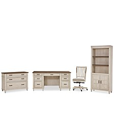 Dawnwood Home Office, 4-Pc. Set (Executive Desk, Office Chair, File, Door Bookcase)