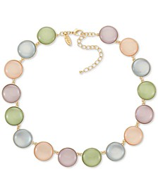 """Gold-Tone Multicolor Stone Disc Collar Necklace, 18"""" + 3"""" extender, Created for Macy's"""
