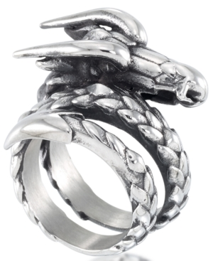 Men's Dragon Coil Ring in Stainless Steel