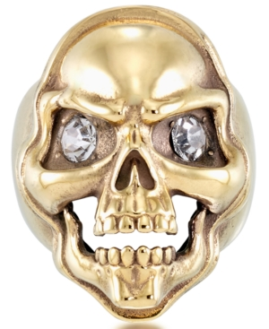 Men's Cubic Zirconia Skull Ring in Yellow Ion-Plated Stainless Steel