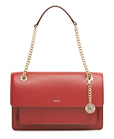 Large Chain Leather Flap Crossbody
