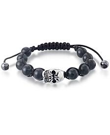 Men's Onyx Bead Skull Bolo Bracelet in Stainless Steel (Also in Tiger's Eye & White Agate)