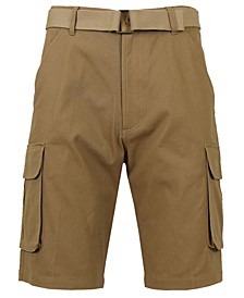 Men's Flat Front Belted Cotton Cargo Shorts