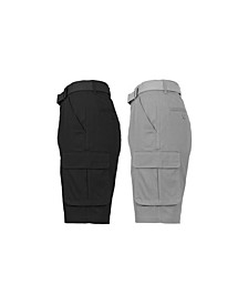 Men's Flat Front Belted Cotton Cargo Shorts, Pack of 2
