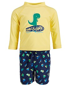 Baby Boys 2-Pc. Dino Rash Guard & Swim Trunks Set, Created for Macy's