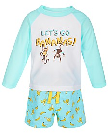 Toddler Boys 2-Pc. Monkey Rash Guard Set, Created for Macy's
