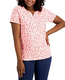 Floral-Print Henley Top, Created for Macy's