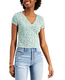 Juniors' Lace-Trim Ruched-Front Printed Top