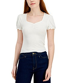 Juniors' Ribbed Sweetheart-Neck Top