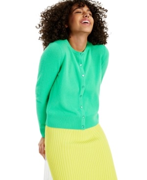 Charter Club CASHMERE SOLID LONG-SLEEVE CARDIGAN, CREATED FOR MACY'S