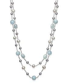 """Milky Aquamarine and Cultured Freshwater Pearl 17"""" Double Row Necklace in Sterling Silver"""