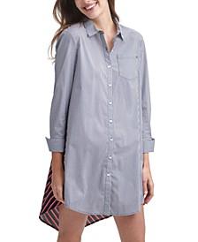 Striped Contrast-Back Shirtdress