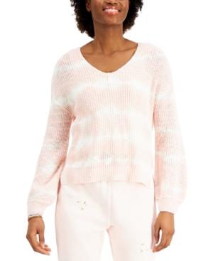Juniors' Tie-Dye V-Back Sweater