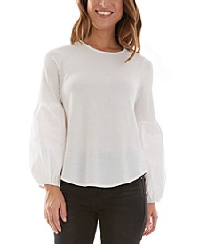 Juniors' Lantern-Sleeve Top