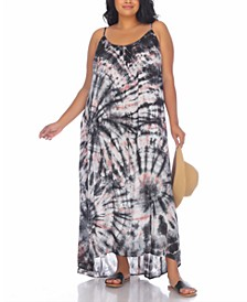 Plus Size Tie-Dyed Maxi Cover Up Dress