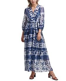 Tie-Dyed Wrap Maxi Dress