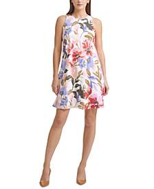 Floral-Print Chiffon Trapeze Dress