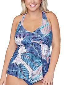 Trendy Plus Size Puerto Palm-Print Tankini Top