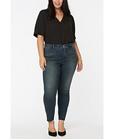 Women's Plus Size Ami Skinny Ankle Jeans with Riveted Side Slits and Frayed Hems