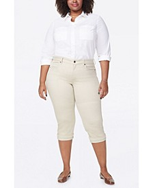 Women's Plus Size Marilyn Straight Crop Jeans with Frayed Cuffs