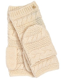 로렌 랄프로렌 Lauren Ralph Lauren Womens Cable Pop Top Wool Blend Glove,Cream