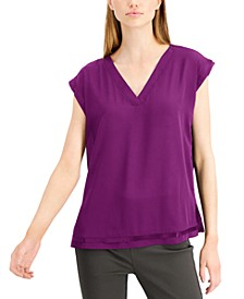 Knit-Back Cap-Sleeve Top, Created for Macy's