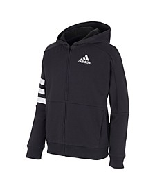 Big Boys Zip Front 3-Stripe Hooded Jacket