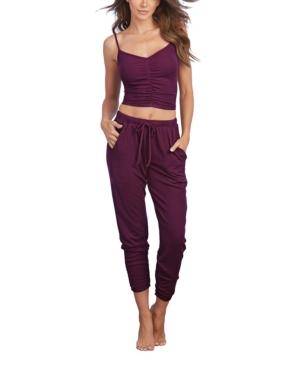 Women's Soft Rib-Knit Jersey 2-Piece Camisole and Jogger Pants Pajama Set