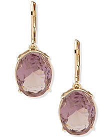 Colored Oval Crystal Drop Earrings