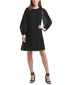 Pleated-Cape Shift Dress
