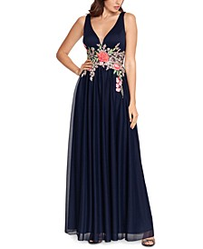 Embroidered-Waist Gown