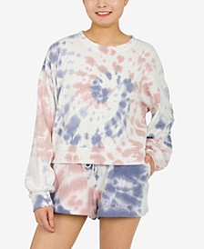 Juniors' Tie-Dyed Balloon-Sleeve Sweatshirt