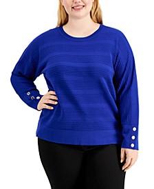 Plus Size Textured Dolman-Sleeve Sweater