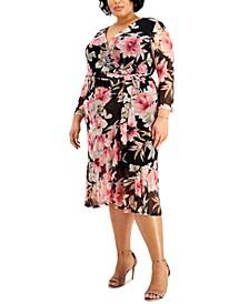 Plus Size Floral-Print Mesh Maxi Dress