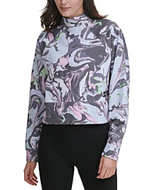 Sport Cotton Marble-Print Cropped Mock-Neck Top
