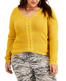Trendy Plus Size Lace-Up-Back Sweater